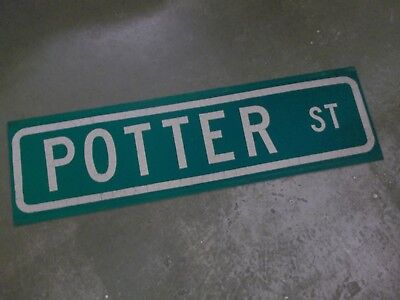 "Vintage ORIGINAL POTTER ST STREET SIGN 42"" X 12"" WHITE LETTERING ON GREEN"