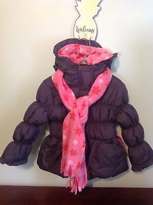 Girls Pink Platinum Gray Hooded Winter Jacket With Scarf Size 4