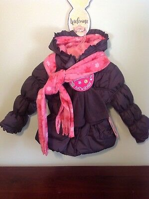 Girls Pink Platinum Gray Hooded Winter Jacket With Hat & Scarf Size 4