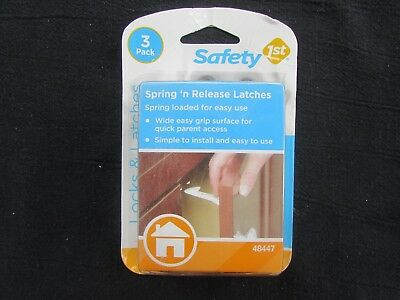 3-Pack Safety 1St White Cabinet Spring 'N Release Latches - New/Factory Sealed