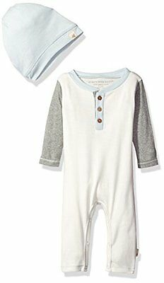 Burt's Bees Baby Boy Coverall & Slouchy Hat Set ~ Ivory, Heather Gray & Blue~24M