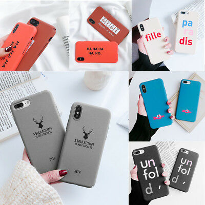 For iPhone XS Max XR X 6s 7 8 6 Plus Matte Simple Pattern Case Hard Back Cover