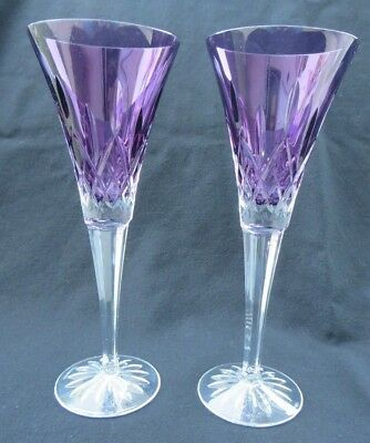 """2 Waterford Crystal LISMORE Amethyst Purple Champagne Flute Glasses 9 1/4""""H Mint"""
