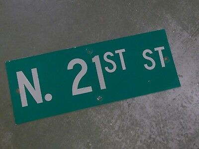 "Vintage ORIGINAL N. 21ST ST Street Sign 24' X 9"" White on Green"