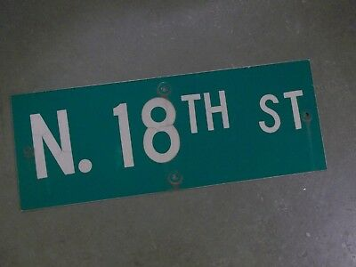 "Vintage ORIGINAL N. 18TH ST Street Sign 24' X 9"" White on Green"