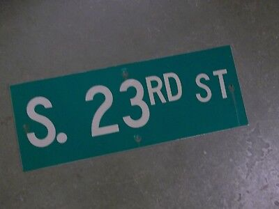 "Vintage ORIGINAL S..23RD ST Street Sign 24' X 9"" White on Green"