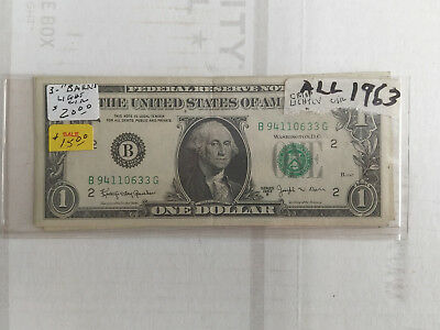1963 $1 Joseph Barr Notes Group of Three Lightly Circulated B, E, G