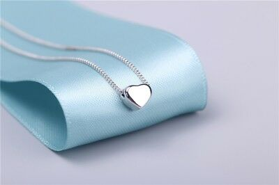"""925 Sterling Silver Lovely Tiny Heart Charm Pendant Necklace 18"""""""