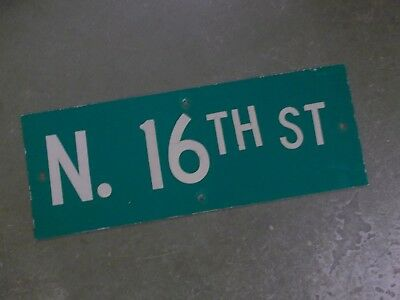 "Vintage ORIGINAL N. 16TH ST Street Sign 24' X 9"" White on Green"