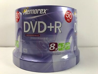Memorex Recordable DVD+R - 8x 4.8GB - 120 Min - 50 Pack Spindle - New Sealed