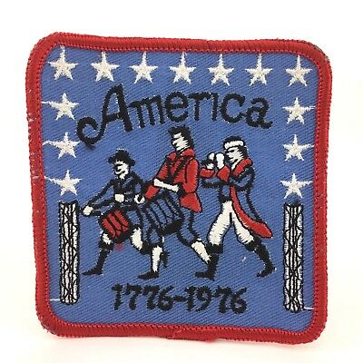 """Vintage American Revolution Bicentennial 1776 - 1976 Embroidered 3"""" Square Patch"""