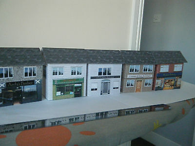 Scratch Built Card Model Railway Houses 00 Gauge Bakery, Barbers, Police Station
