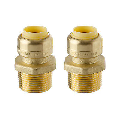 Little Well brass 1/2'' Push-Fit X 3/4'' NPT Male Pipe Thread Coupling, 2 Pack