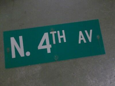 "Vintage ORIGINAL N. 4TH AV Street Sign 24' X 9"" White on Green"