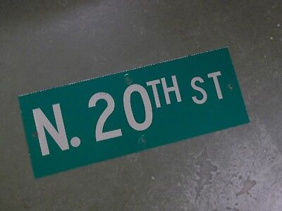 "Vintage ORIGINAL N. 20TH ST Street Sign 24' X 9"" White on Green"