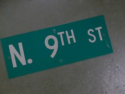 "Vintage ORIGINAL N. 9TH ST Street Sign 24' X 9"" White on Green"