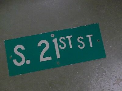 "Vintage ORIGINAL S. 21ST ST Street Sign 24' X 9"" White on Green"