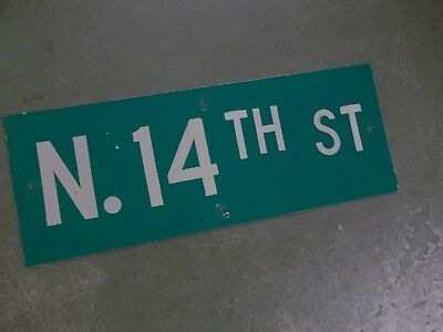 "Vintage ORIGINAL N. 14TH ST Street Sign 24' X 9"" White on Green"
