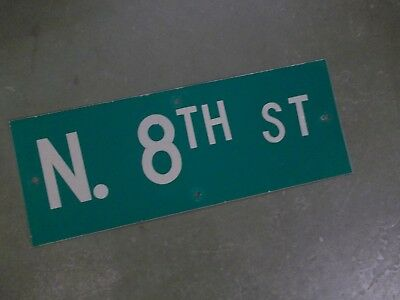 "Vintage ORIGINAL N. 8TH ST Street Sign 24' X 9"" White on Green"