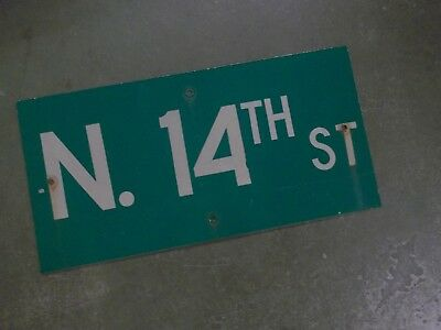 "Vintage ORIGINAL N. 14TH ST Street Sign 24' X 12"" White on Green"