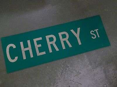"""UNUSUAL 2 SIDED CHERRY ST Street Sign 36"""" X 12"""" White on Green"""