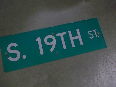 "Vintage ORIGINAL S. 19TH ST Street Sign 36' X 12"" White on Green"