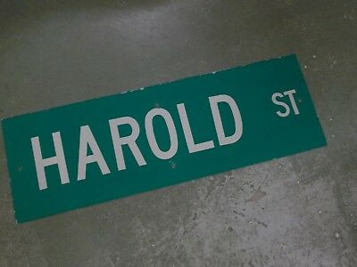 "Vintage ORIGINAL HAROLD ST Street Sign 36' X 12"" White on Green"