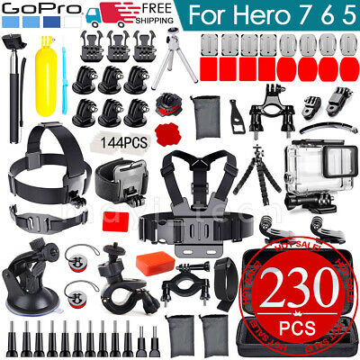 2019 GoPro Accessories Pack Chest Head Waterproof Housing Case Hero 7 6 5 230pcs