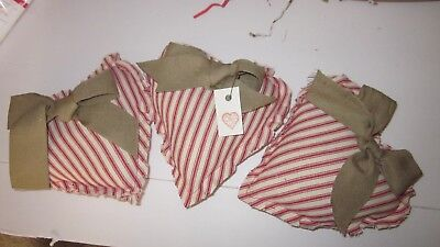 Valentine's Day Red Ticking Set Of 3 Heart Bowl Fillers  Size .7 In    Tan Bow