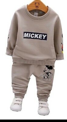 2pcs Kids Baby Boys Girls Mickey Hooded Jacket T Shirt Pants Outfits Set Clothes
