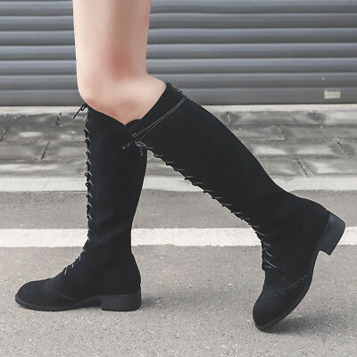 87cd00af72139 Women Ladies Fashion Suede Knight Lace Up Back Zipper Elegant Knee High  Boots