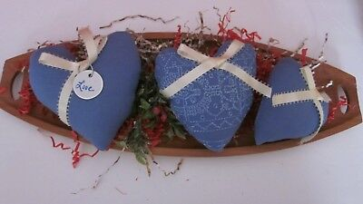 Valentine's Day  Country Blue ( Set Of 3 )  Heart Bowl Fillers   #2