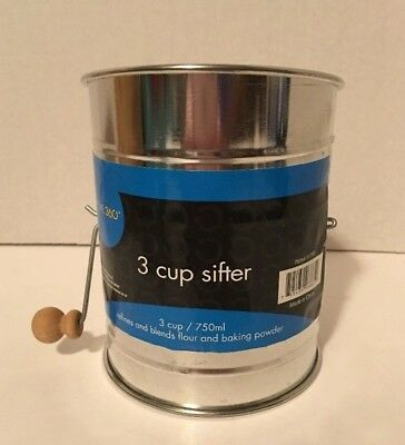 New ~Sifter 3/750 ml~3 Cup~ Wooden Handle~Home 360