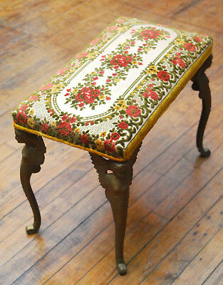 Antique Cast Iron Winged Goddess Stool Bench Vanity Piano Art Deco Nouveau Angel