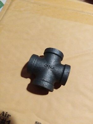 "3/8"" BLACK MALLEABLE IRON CROSS 4-way TEE fitting pipe npt"