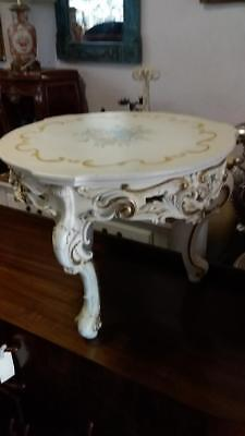 Hand Painted French Louis Style Ornately Carved White Coffee / Lamp Table