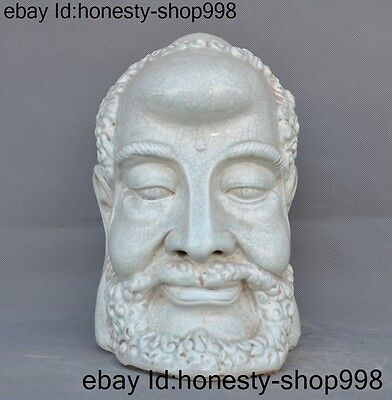 "11""Antique rare Old Chinese Dehua porcelain temple Damo monk Buddha head statue"