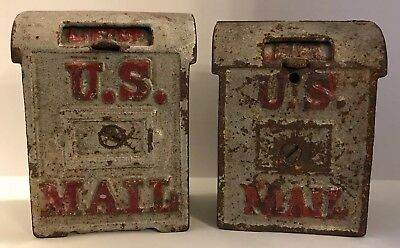 2 Antique Cast Iron US Mail Box Still Banks w/LIFT UP Slots for Coins