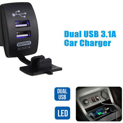 3.1A Dual LED USB Car Auto Power Supply Charger Port Socket 12-24V DC Waterproof