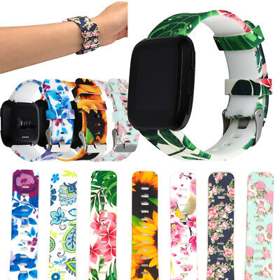 Floral Pattern Sport Silicone Watch Strap Wrist Band Buckle For Fitbit Versa New