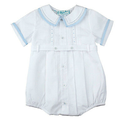 Feltman Brothers Infant Boys White & Blue Belted Romper NWT 3m, 6m, 9m