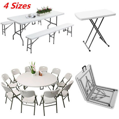 2 4 5 6ft Folding Table Heavy Duty Trestle Camping Party Picnic BBQ Garden White