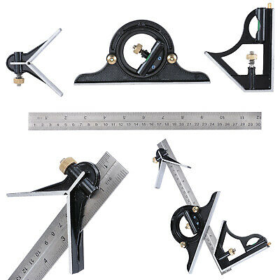 "12"" Combination Protractor Tri- Square Angle Ruler Machinist Measuring Tools"