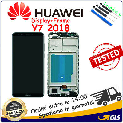 Display Lcd Vetro Schermo + Frame Touch Screen Per Huawei Honor 7C Y7 2018 Nero