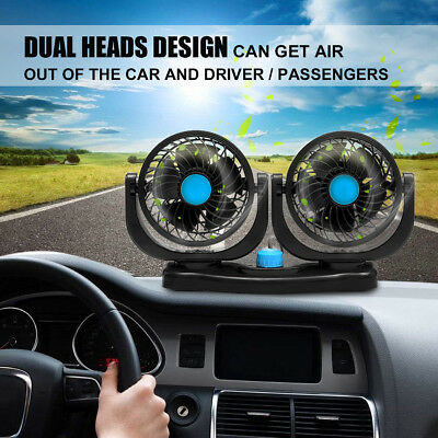 12V Dual Head Car Fan Portable Vehicle Truck 360° Rotatable Auto Cooling