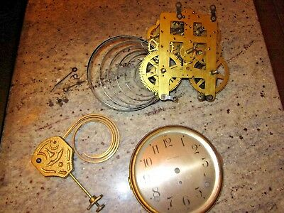 antique Seth Thomas clock movement dial bezel coil gong hands lot #131