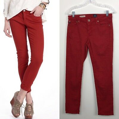 035dcef720a8 AG Adriano Goldschmied Stevie Slim Straight Ankle Red Jeans Sz 28  Anthropologie