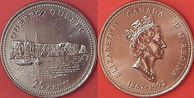Brilliant Uncirculated 1992 Canada Quebec 25 Cents From Mint's Roll