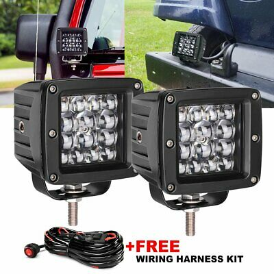 2X 3Inch 84W CREE LED Work Light Cube Pods Spot Flood Combo Driving Fog 5D+ Wire