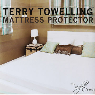 Terry Towel Waterproof Mattress Protector Washable Bed Cover Double Pillow Pair